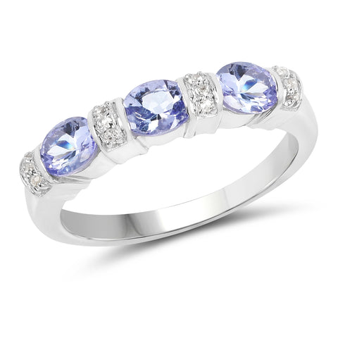 2.82 Carat Genuine Tanzanite and White Topaz .925 Sterling Silver Jewelry Set