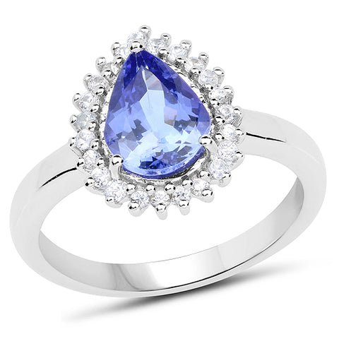 1.73 Carat Genuine Tanzanite and White Zircon .925 Sterling Silver Ring