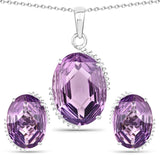 20.35 Carat Genuine Amethyst .925 Sterling Silver Jewelry Set