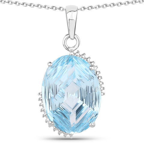 27.00 Carat Genuine Blue Topaz .925 Sterling Silver Jewelry Set