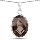18.72 Carat Genuine Smoky Quartz .925 Sterling Silver Jewelry Set
