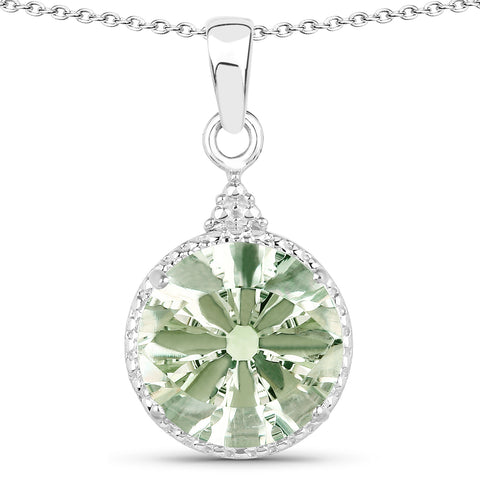 13.10 Carat Genuine Green Amethyst .925 Sterling Silver Jewelry Set