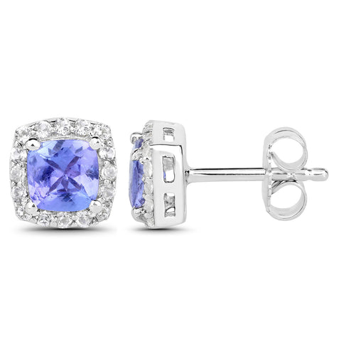 1.58 Carat Genuine Tanzanite and White Topaz .925 Sterling Silver Earrings
