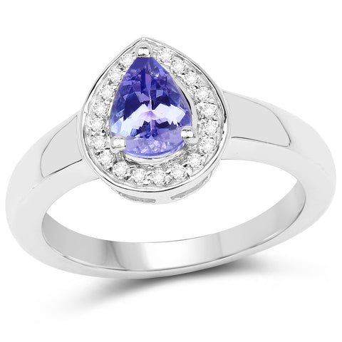 0.77 Carat Genuine Tanzanite and White Topaz .925 Sterling Silver Ring