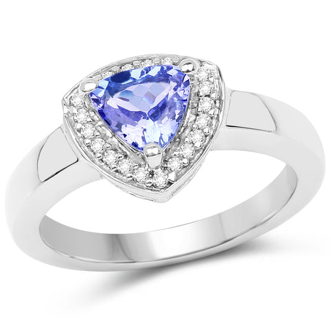 0.87 Carat Genuine Tanzanite and White Topaz .925 Sterling Silver Ring
