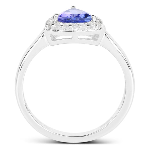 1.02 Carat Genuine Tanzanite and White Topaz .925 Sterling Silver Ring