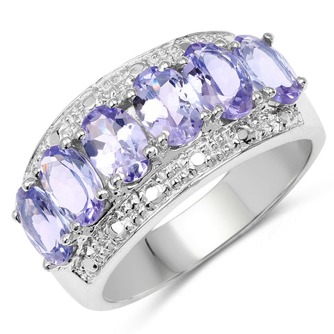 2.64 Carat Genuine Tanzanite .925 Sterling Silver Ring