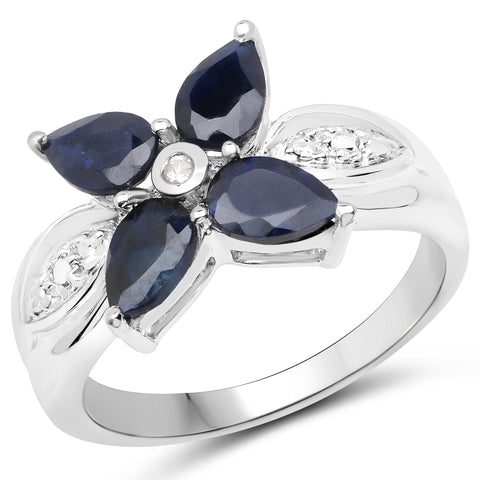 1.82 Carat Genuine Black Sapphire and White Topaz .925 Sterling Silver Ring