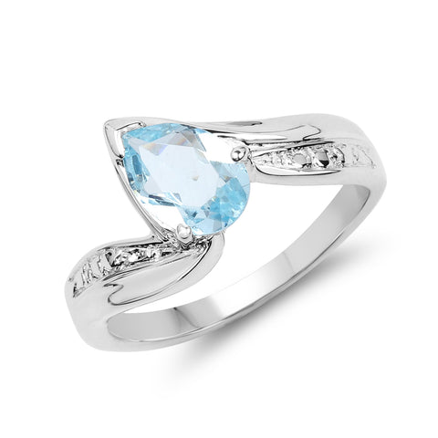 1.30 Carat Genuine Blue Topaz .925 Sterling Silver Ring