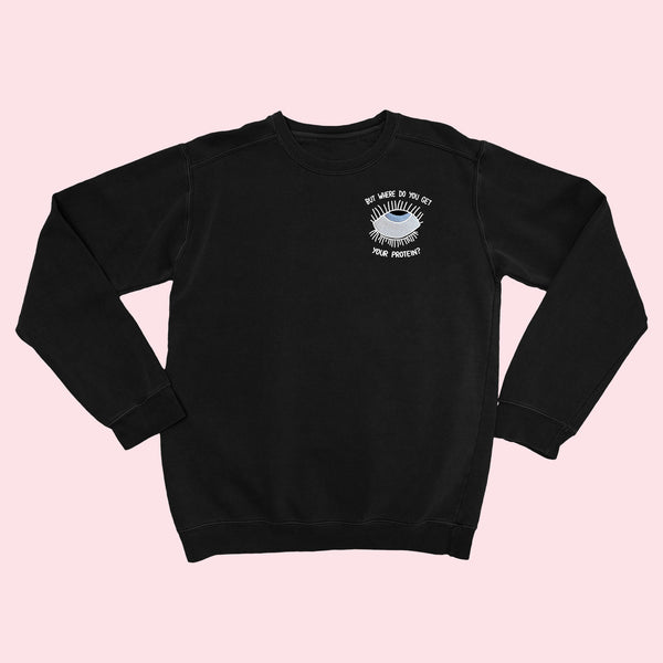 EYEROLL- Black Embroidered Sweater
