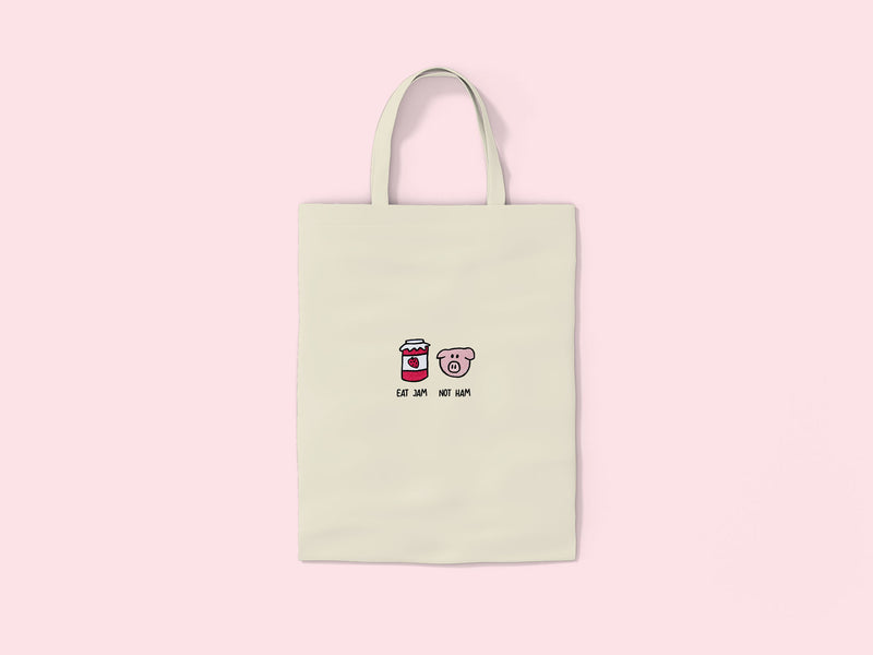 Eat Jam Not Ham- Embroidered Tote Bag