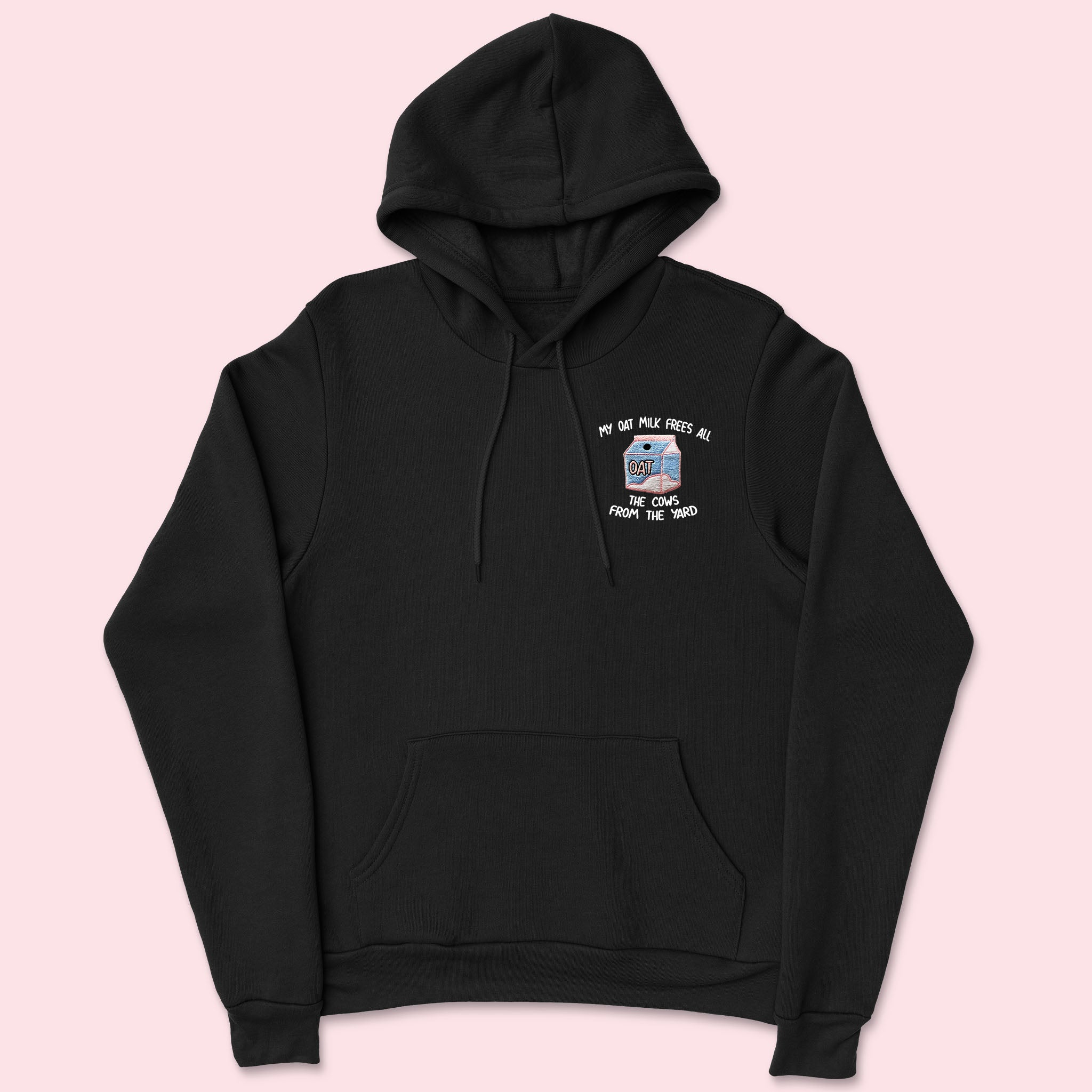My Oat Milk- Embroidered Black Unisex Hoodie