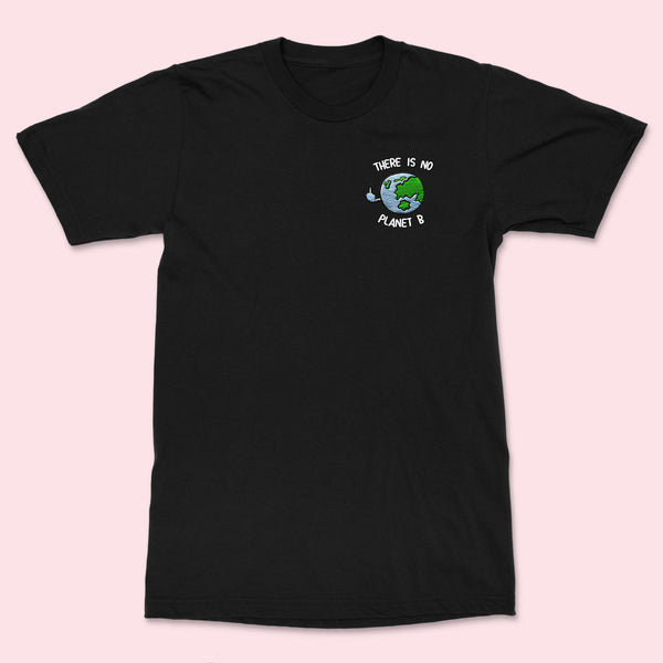 PLANETB- Embroidered Unisex Black T-shirt