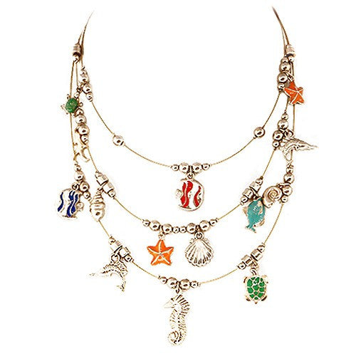 Fashion Fish Turtle & Sea Horse Three-Strand Gold Illusion Charm Necklace Women's Girl'S Gift For Her