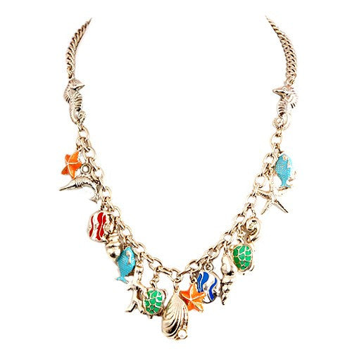 Fashion Gold/Multi Under The Sea Multi Charm Gold Necklace Women's Girl'S Gift For Her
