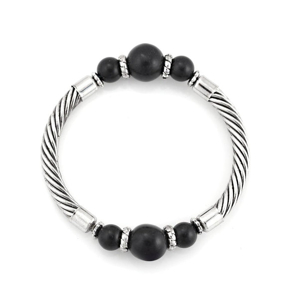 Rhodium Tone Black Beads Rope Style Bracelet Gift For Her