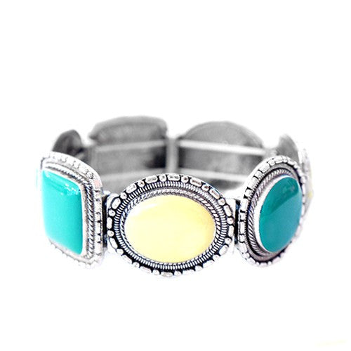 Women's Fashion Lime & Emerald Mixed Stone Silver Stretch Bracelet Gift For Her
