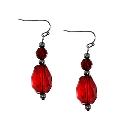 Women's Fashion Red Cut Bead Hematite Dangle Earring Gift For Her