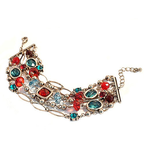 Women's Fashion Gold Multi Color Red & Green Ethnic Bracelet Gift For Her
