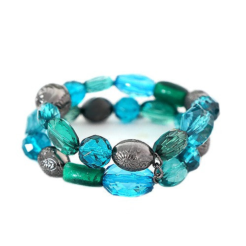 Women's Fashion Blue & Green Mixed Bead W/ Hematite Metal Stretch Bracelet Gift For Her