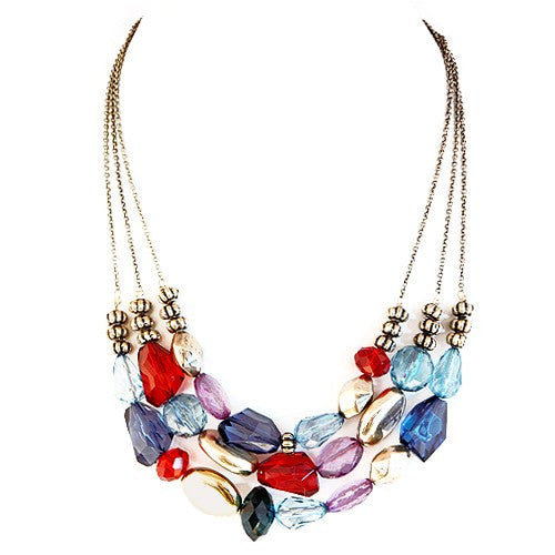 Fashion Gold Multi Color Mixed Cut Beads Three-Strand Gold Necklace Women's Girl'S Gift For Her