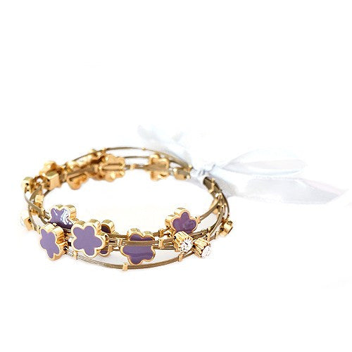 Women's Fashion Gold Purple Bracelet Gift For Her