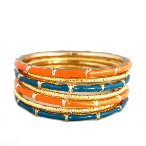 Women's Fashion Teal & Coral Mixed Enamel Bamboo Design W/ Gold Textured Bangles, Set Of 7Pcs Gift For Her