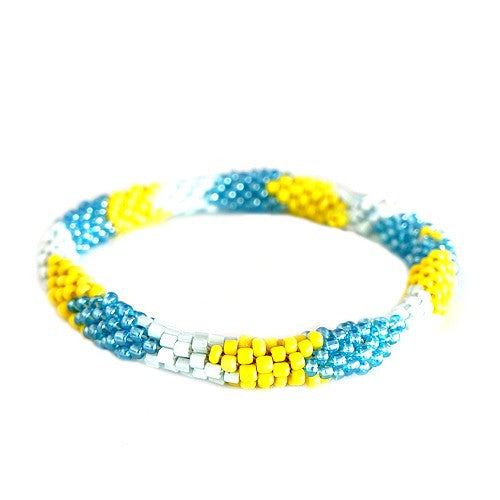 Women's Fashion Yellow & Aqua Mixed H& Beaded Roll On Bracelet Gift For Her