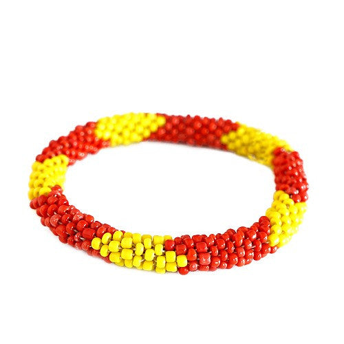 Women's Fashion Red & Yellow Mixed H& Beaded Roll On Bracelet Gift For Her