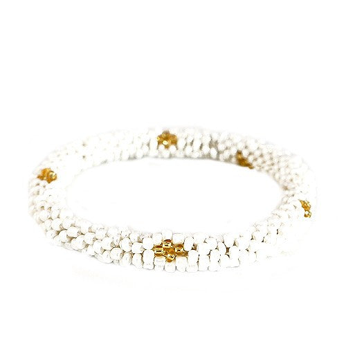 Women's Fashion White & Gold Mixed H& Beaded Roll On Bracelet Gift For Her