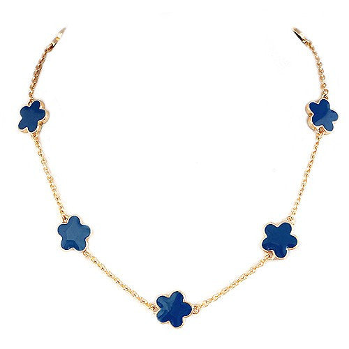 Fashion Blue Enamel Five Leaves Clover Gold Necklace Women's Girl'S Gift For Her