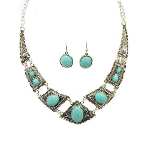 Silver Tribal Necklace With Turquoise Stones And Earrings