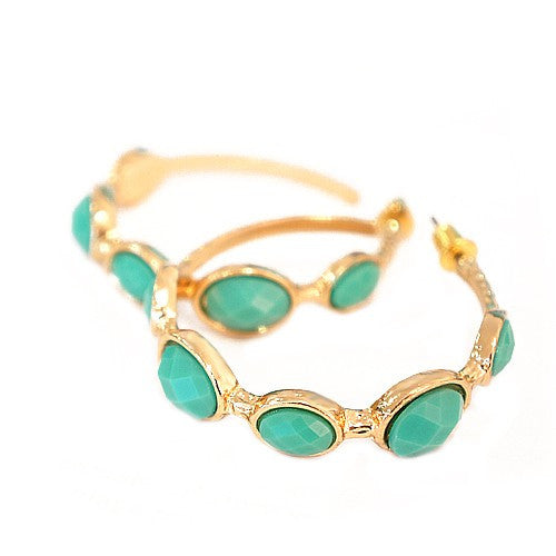 Women's Fashion Shiny Gold W/ Turquoise Cut Beads Hoop Earrings Gift For Her