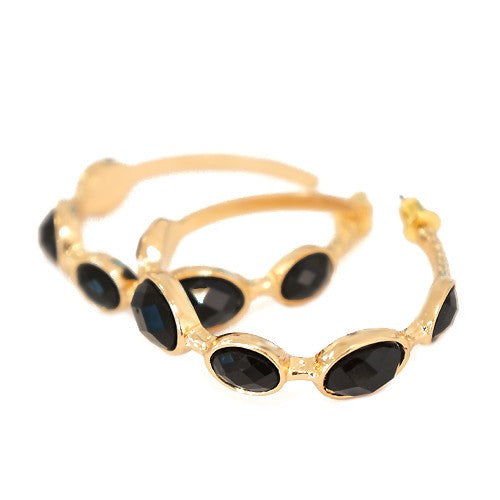 Women's Fashion Shiny Gold W/ Jet Cut Beads Hoop Earrings Gift For Her