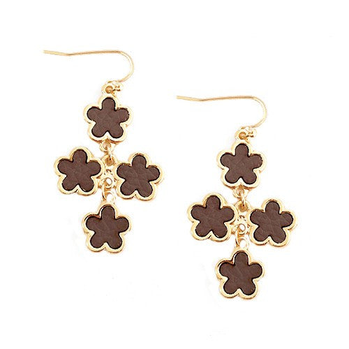 Women's Fashion Brown Five Leaf Four Flowers Gold Earrings Gift For Her