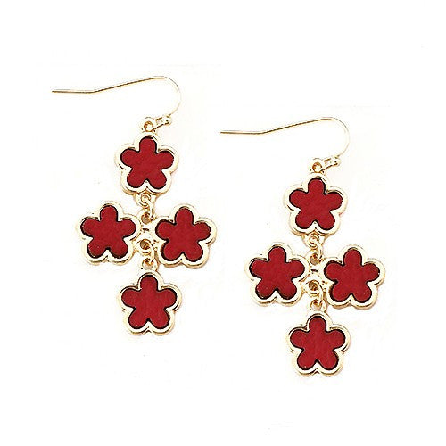 Women's Fashion Red Five Leaf Four Flowers Gold Earrings Gift For Her