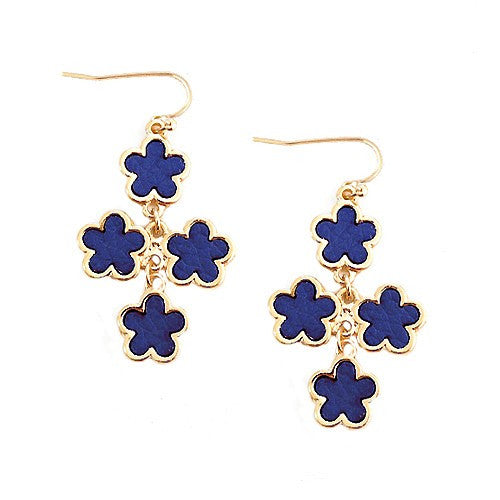Women's Fashion Royal Blue Five Leaf Four Flowers Gold Earrings Gift For Her