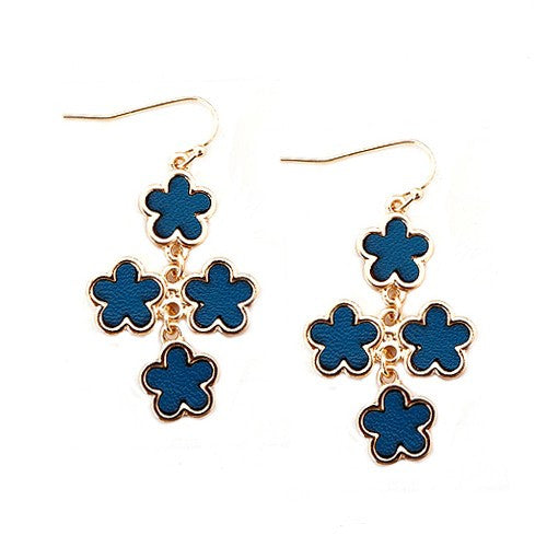Women's Fashion Teal Five Leaf Four Flowers Gold Earrings Gift For Her