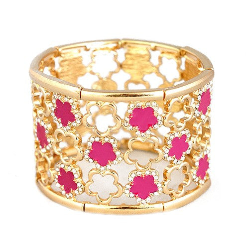 Women's Fashion Fabulous Fuchsia Five Leaf Flower W/ Rhinestone Gold Stretch Thick Bracelet Gift For Her