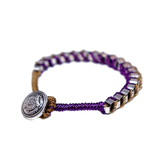 Women's Fashion Multi Color Cotton String W/ Silver Metal Chain Button Bracelet, Purple & Brown Gift For Her