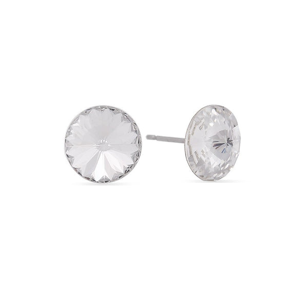 Silver-Tone White Round Crystal Earrings Gift For Her