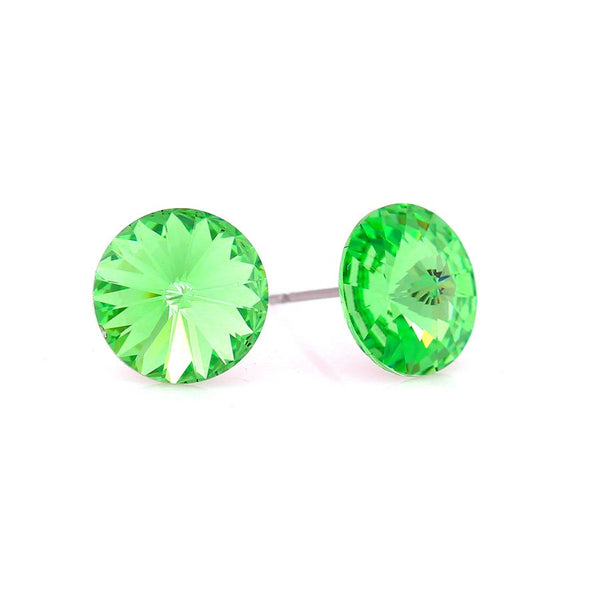 Silver-Tone Peridot Round Crystal Earrings Gift For Her