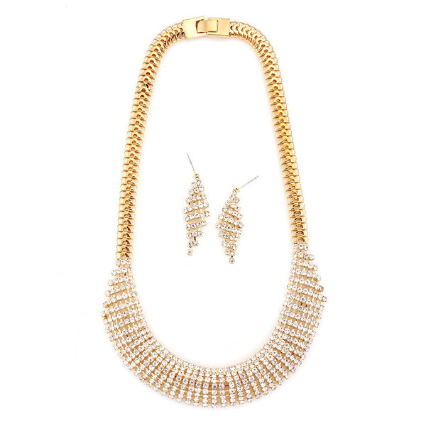 Women's Fashion Gold-Tone Metal Necklace & Earrings Set, White Crystal Gift For Her