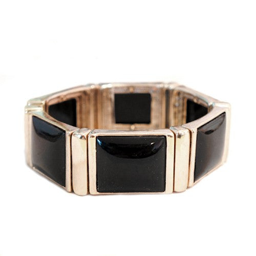 Women's Fashion Chic Black Rectangle Bead Gold Stretch Bracelet Gift For Her
