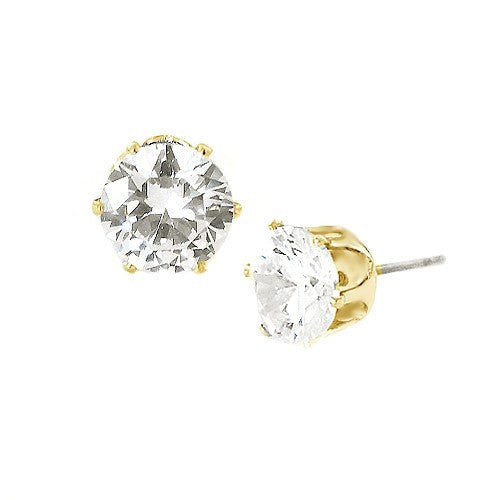 Women's Fashion Simple Round Cut Clear Glass Crystal Gold Earrings Gift For Her