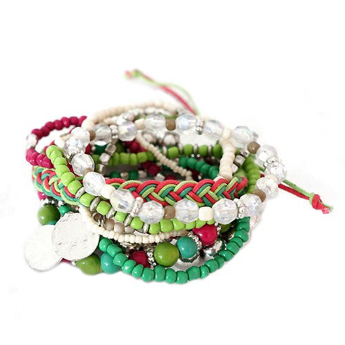 Women's Fashion Green & Fuchsia Mixed Multi Stretch Bracelet Gift For Her