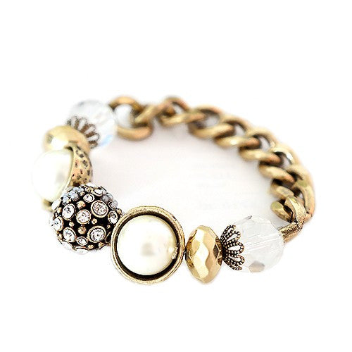 Women's Fashion Clear Rhinestone & Glass Pearl Fire Ball W/ Multi Beaded Gold Chain Stretch Bracelet Gift For Her