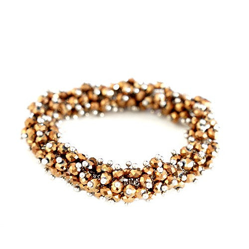 Women's Fashion Smoky Topaz Glass Crystal Seed Beads Stretch Bracelet Gift For Her