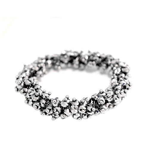 Women's Fashion Silver Glass Crystal Seed Beads Stretch Bracelet Gift For Her