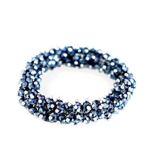 Women's Fashion Hematite Navy Glass Crystal Seed Beads Stretch Bracelet Gift For Her